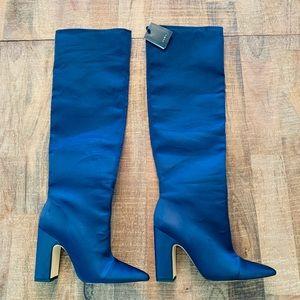 Zara Navy Satin Boots